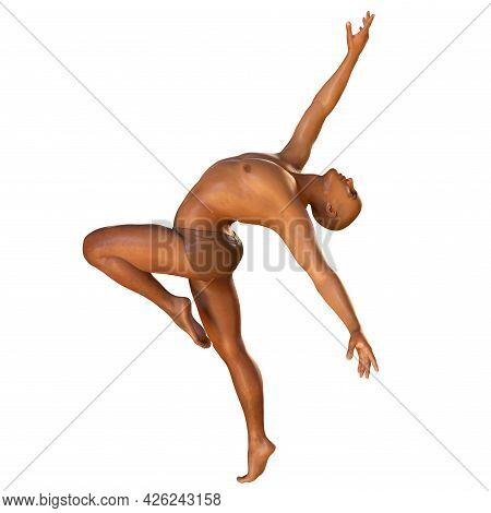Anatomy Of Dancing And Ballet, 3D Illustration. A Man In Ballet Pose With Highlighted Skeleton Showi