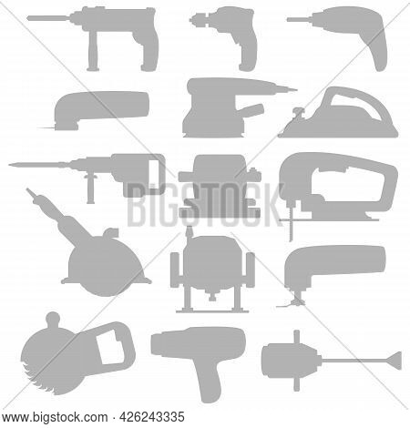 Set Of Industrial Power Tools Icons For Background With Light Gray Silhouettes. Vector Illustration