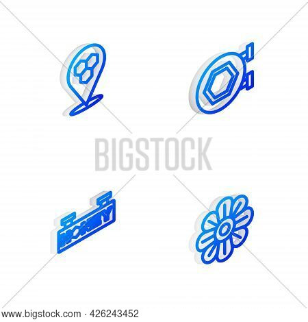 Set Isometric Line Hanging Sign With Honeycomb, Honeycomb Bee Location, And Flower Icon. Vector