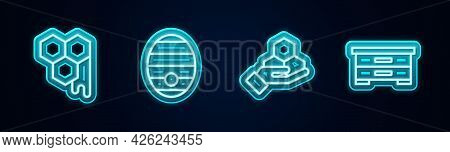 Set Line Honeycomb, Hive For Bees, And Hand And . Glowing Neon Icon. Vector