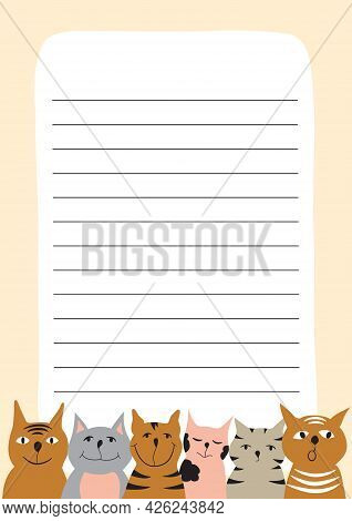 Template For Page Of Paper Notebook With Colorful Cats Illustrations. Design Element For Organizer,