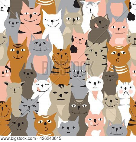Seamless Pattern With Colorful Cats. Ginger, Grey, Pink And White Cats With Different Facial Express