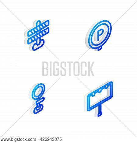 Set Isometric Line Parking, Road Barrier, Traffic Sign And Billboard With Lights Icon. Vector