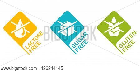 Lactose Free, Sugar Free, Gluten Free - Set Of Badges For Food Packaging. Decoration Element For Hea