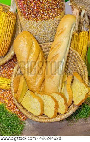 Loaf And Pieces Of Bread In Basket Bakery Display