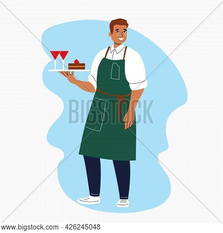 Cartoon Male Waiter Stands With A Tray On His Hand. Handsome Smiling Man Character In Uniform. Resta