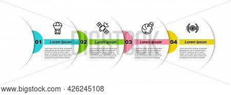 Set Line Box Flying On Parachute, Satellite, Earth Globe And Cosmic Ship. Business Infographic Templ