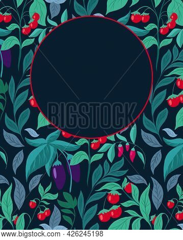 Vertical Card With Pattern With Vegetables, Foliage And Place For Text. Vector Template With Eggplan