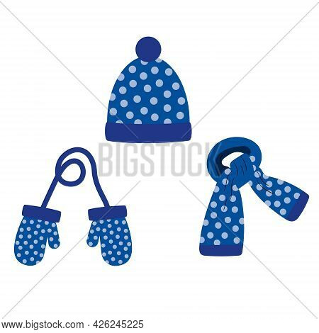 Set Of Hat, Scarf, Mittens Of Blue Color With Blue Polka Dots, Winter. Vector Isolated On A White Ba
