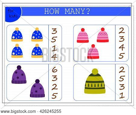 Math Game For Kids. Count How Many Caps There Are. Vector Isolated On A White Background