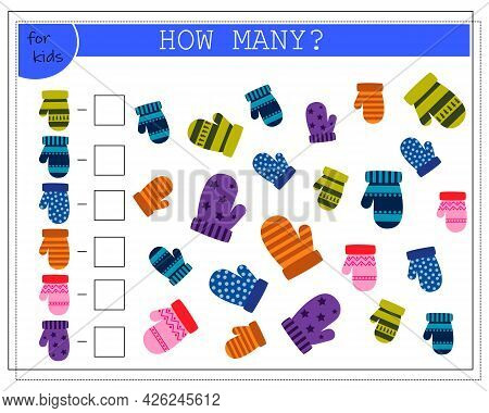 Math Game For Kids. Worksheet Count How Many Mittens. Vector Isolated On A White Background
