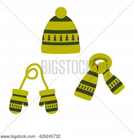 Set Of Hat, Scarf, Mittens Of Green Color With A Pattern, Winter. Vector Isolated On A White Backgro
