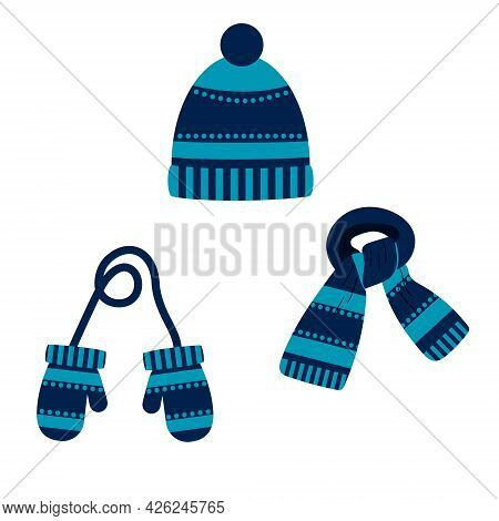 Set Of Hat, Scarf, Mittens Of Blue Color With A Pattern, Winter. Vector Isolated On A White Backgrou