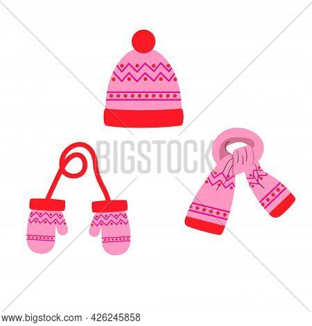 Set Of Hat, Scarf, Pink Mittens With A Pattern, Winter. Vector Isolated On A White Background