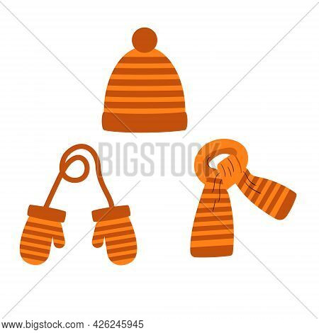 Set Of Hat, Scarf, Orange Striped Mittens, Winter. Vector Isolated On A White Background