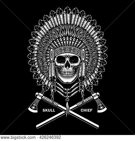 American Indian Chief Skull With Crossed Tomahawks On Black