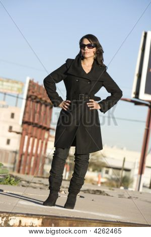 Beautiful Woman In A Trenchcoat