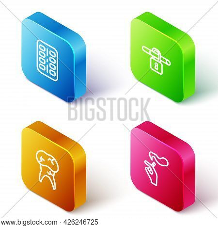 Set Isometric Line Nicotine Gum In Blister Pack, No Smoking, Tooth With Caries And Hand Cigarette Ic