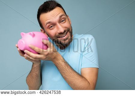 Closeup Of Happy Positive Smiling Young Handsome Brunet Unshaven Man With Beard With Sincere Emotion