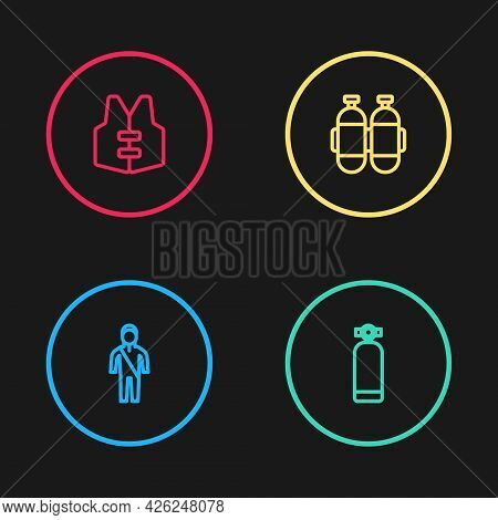 Set Line Wetsuit For Scuba Diving, Aqualung, And Life Jacket Icon. Vector