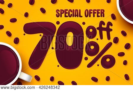70 Percent Off. Discount Creative Composition. Coffee Special Offer. Sale Banner And Poster. Vector