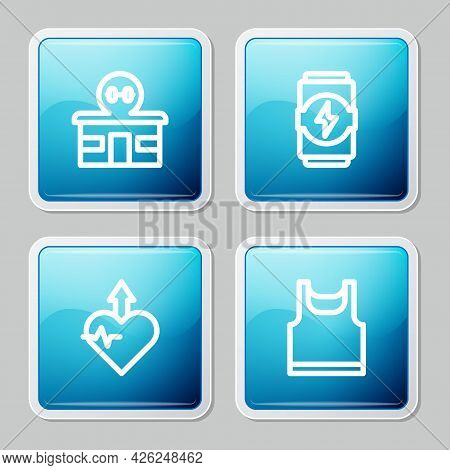 Set Line Gym Building, Energy Drink, Heartbeat Increase And Sleeveless T-shirt Icon. Vector