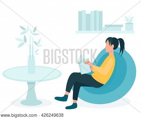 Girl With A Book Sits On A Beanbag Chair, Vector Illustration. Concept, A Woman Reads In An Apartmen