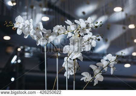 Romantic Wedding Table Top Layout Decor With Large Lush Floral Bouquets Including White Roses, Ranun