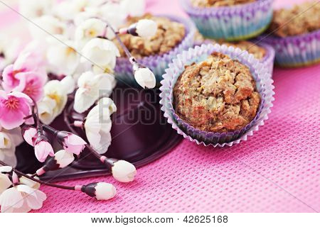 delicious apple muffins with cinnamon and almonds - sweet food /shallow DOFF/ poster
