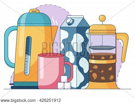 Cartoon Abstract Illustration Of Making Herbal Tea, With Sugar, Milk And French-press With Tea Leave