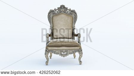 3d Render Of Classic Baroque Armchair Throne In Bronze And Beige Colors Isolated On White Background