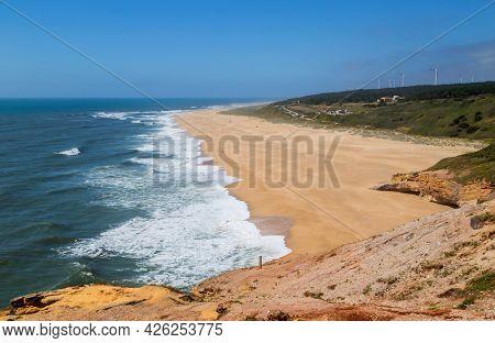 Beautiful empty beach near Sao Martinho do Porto, Portugal