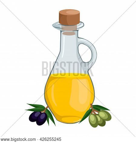 Olive Oil Advertisement In Glass Jug With Olive Branch. 3d Vector Illustration.