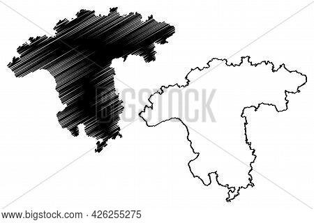Darmstadt Region (federal Republic Of Germany, State Of Hessen, Hesse, Hessia) Map Vector Illustrati