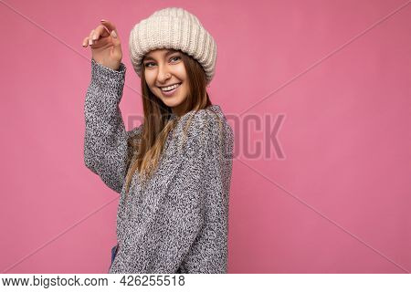 Attractive Smiling Happy Young Dark Blonde Woman Standing Isolated Over Colourful Background Wall We