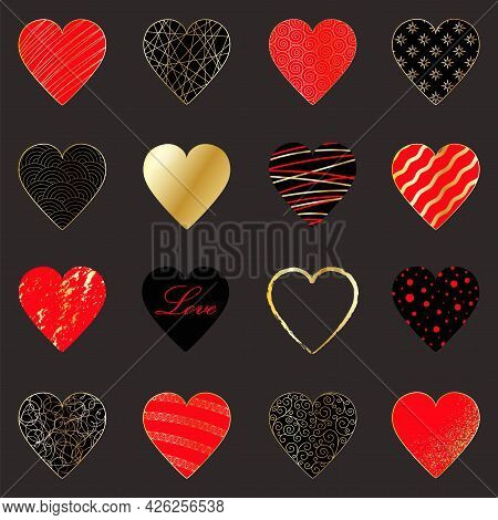 Set Of 16 Elegant Gold, Red And Black Hearts On A Dark Gray Background. Luxury Abstract Design Templ