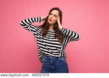 Photo Of Young Sad Upset Tired Attractive Brunette Female Person With Sincere Emotions Wearing Casua