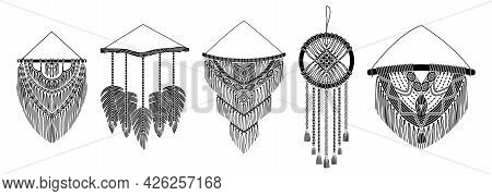 Set Of Vector Macrame Murals In Boho Style. Simple Style