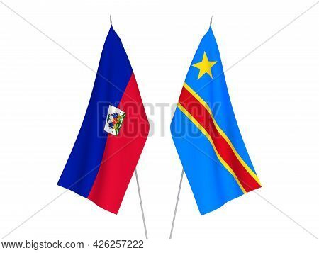 National Fabric Flags Of Democratic Republic Of The Congo And Republic Of Haiti Isolated On White Ba