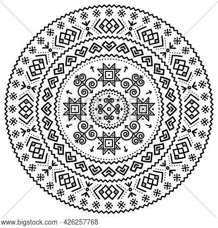 Slovak Folk Art Vector Black Tribal Mandala Design With Geometric Shapes Inspired By Traditional Hou