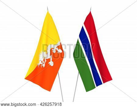 National Fabric Flags Of Republic Of Gambia And Kingdom Of Bhutan Isolated On White Background. 3d R