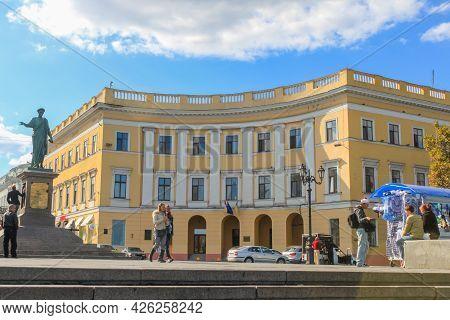 Odessa, Ukraine, October 9, 2012: Monument To Duke De Richelieu In Odessa. This Is The First Monumen