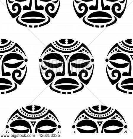 Polynesian Maori Face Tattoo Vector Seamless Pattern, Hawaiian Man Or Woman Tribal Repetitive Design