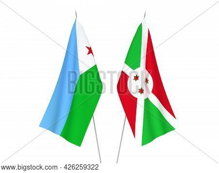 National Fabric Flags Of Burundi And Republic Of Djibouti Isolated On White Background. 3d Rendering