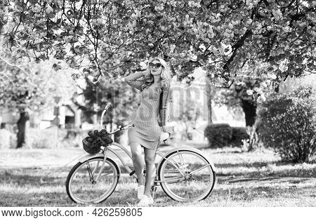 Athletic Woman Ride Retro Bicycle. Rest And Travel. Travel By Bike. Weekend Concept. Spring Holidays