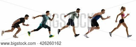 Sport Collage. Male And Female Joggers, Runners In Action Isolated On White Studio Background.