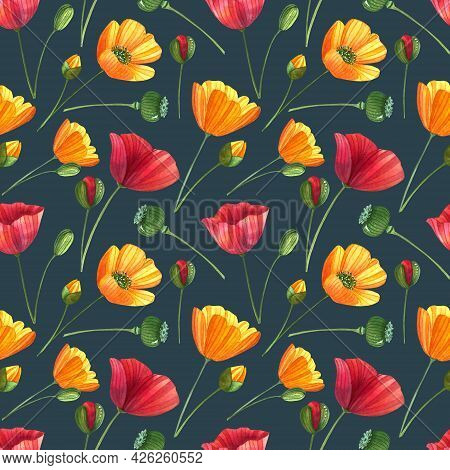 Watercolor Seamless Pattern With Poppies, Buttercups And Leaves. Floral Background With Flowers And