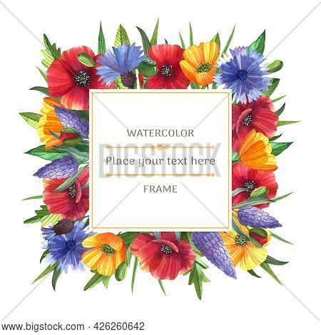 Bright Watercolor Frame With Wild Flowers On The White Background. Poppies, Buttercups, Lavender And