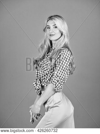 She Is Really Cute. Sexy Blonde Wear Vintage Clothes. Retro Woman With Makeup. Beautiful Girl Has Lo