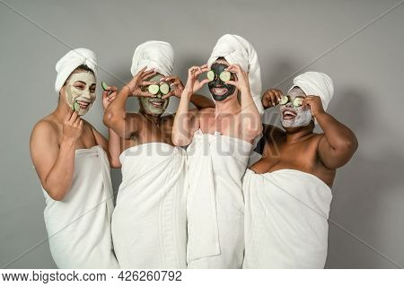 Happy Multiracial Females With Different Body Size Having Skin Care Spa Day - People Selfcare Concep